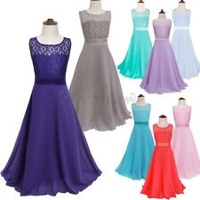 Girls Lace Flower Maxi Dresses Wedding Party Bridesmaid Formal Prom Gown Dress