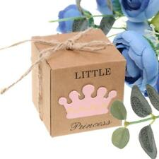 50pcs Kraft Prince Crown Candy Gift Box Girl Boy Baby Shower Favor
