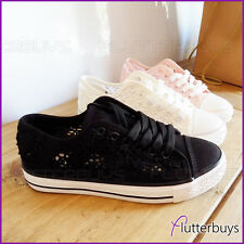 Ladies Lace Canvas Daps Shoes Trainers sneakers Womens Size New Lace up Plimsoll