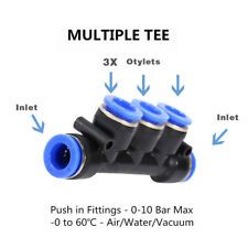 Pneumatic Push In Fittings Air Water Hose Tube Pipe Connector Joiner Hot 8 Types