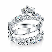Bling Jewelry 925 Silver Round Baguette CZ Bridal Engagement Wedding Ring Set