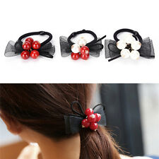 Butterfly Bow Hair Ring Rubber Band Women Luxury Crystal Pearl Hair Rope gt