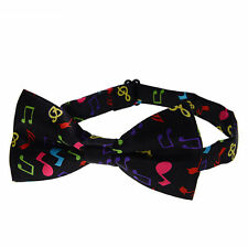 Black & Colourful Music Notes Novelty Bow Tie Concert Bowtie Musical Bow Tie