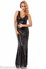 Long Black Sequin V neck Maxi Evening Dress Size 8-14 Prom-Party-Cruise-Ball