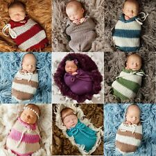 Newborn Baby Photography Props Knitted Sleeping Bag Wrap Cotton Swaddle Blanket