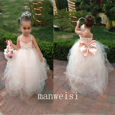 Lovely Flower Flower Girl Dresses Beaded Bridesmaid Wedding Gowns Pageant Party