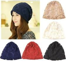 Women Lady Floral Lace Beanie Chemo Hats Nightcap Turban Summer Hat Hollow Out