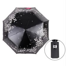 Vintage Automatic 3 fold Cherry Blossom for Women Black Coating Anti-UV Umbrella