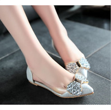 Womens Flats Pointy Toe Ballet Bowknot Glitter Rhinestones Pumps Shoes Loafers