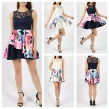 WOMENS LADIES SLEEVELESS FLORAL PRINT LACE BODICE TOP DOUBLE FRILL SKATER DRESS