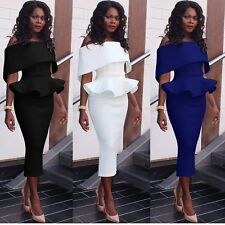 Women Office Business Work Ruffled Tunic Bodycon Evening Party Pencil Dress