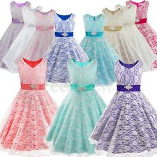 Flower Girls Dresses Lace Princess Pageant Party Wedding Bridesmaid Formal Gown