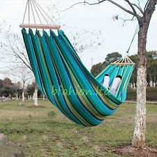Camping Hiking Canvas Travel Hammock Garden Outdoor Summer Sun Lounger Swing Bed