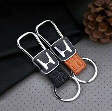 For HONDA Elegant Fashion Genuine Leather Metal Car Keychain Car Key Ring
