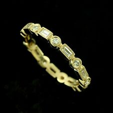 18k Yellow Gold Round Diamonds Baguette Bezel Set Eternity Wedding Band 2.7 mm