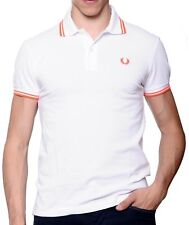 Polo T-shirt Men's Sweater Men Fred Perry Made in Italy Slim Fit white orange fl