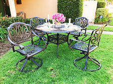 "Cast Aluminum Patio Furniture Elisabeth 5pc Dining Set with 48"" Round Table"