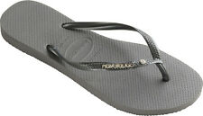Havaianas Slim Metal Logo and Crystal Flip Flops - Steel Grey
