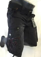 Mens AFFLICTION CARGO SHORTS BLACK RED STITCH CORE SHOCKED 31 32 33 34 36 38 42