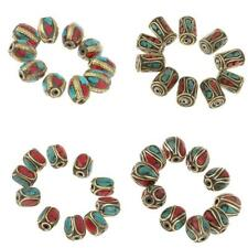10pcs Nepal Trial Brass Beads Handmade Ethnic Turquoise Coral Jewellery Beads