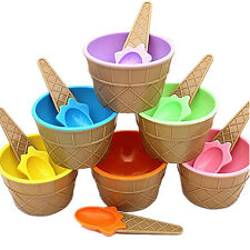 1Pcs Eco-Friendly Cup Ice Cream Dessert Kids Couples Bowl With Spoon Container