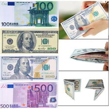 Chic Unisex Mens Womens Currency Notes Pattern Pound Dollar Euro Purse Wallet LN