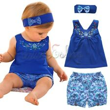 3pcs Toddler Baby Girl Outfit Headband+Top Vest + Pants Kid Clothes Dress Up Set