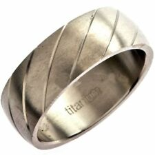 Solid Titanium Ring Band Brushed Finish Diagonal Grooves 8mm