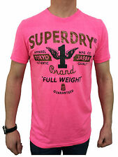 Superdry Mens Full Weight Entry Tee T-Shirt in Fluro Pink