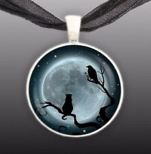 "Cat, Crow or Raven Bird in Tree Blue Moon Illustration Art 1"" Pendant Necklace"