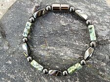 Men's African Turquoise Round n Twist Magnetic Hematite Bracelet Anklet Necklace
