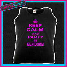 KEEP CALM AND PARTY IN BENIDORM HOLIDAY CLUBBING HEN PARTY UNISEX VEST TOP