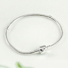 Silver Plated Snake Chain With Barrel Clasp Bead Charms Bangle Bracelet Popular