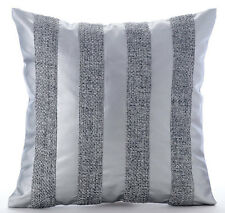 Silver Leather N Jute Stripes - Silver Faux Leather 40x40 cm Throw Cushion Cover
