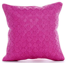 Pink Leather Weave - Pink 35x35 cm Faux Leather Throw Cushions Cover
