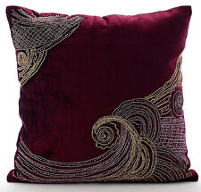 Sparkly Spiral Purple Cushion Cases, 55x55 cm Velvet Cushioncase - Zardozi Waves