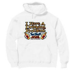 Pullover Hooded Hoodie Sweatshirt Novelty Drinking Problem Two Hands One Mouth