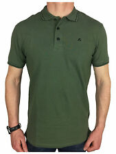 Replay Mens Tipped Logo Branded Polo Shirt in Khaki Green
