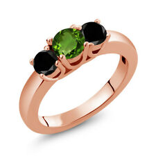 1.04 Ct Round Green Chrome Diopside Black Diamond 14K Rose Gold Ring