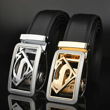 Men's Genuine Leather Belts Automatic Buckle Superman Belts Black Waist Strap