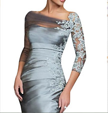 Silver Mother of the Bride Dresses Lace 3/4 Sleeves Slim Line Appliques 2017 Hot