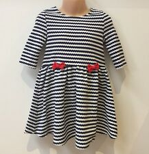 BLUE AND WHITE STRIPED GIRLS DRESS WITH RED BOW - AGES 9 MONTHS TO 5 YEARS OLD