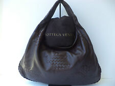 Bottega Veneta Intrecciato Woven Detail Dark Brown Hobo Shoulder Handbag