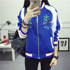2017 Women Coat Casual Outwear Embroidery Loose Baseball uniform Thin Jacket