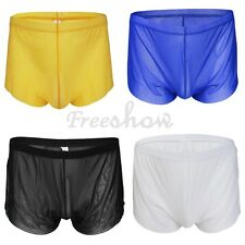 Men Mesh Sheer Boxer Briefs Underwear Sexy Side Split Shorts Trunks Underpants