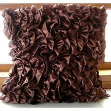 Vintage Style Ruffles Brown Satin Throw Cushion Covers 40x40 cm - Vintage Browns