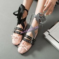 New Womens Leather Mary Jane Lace up Cross Strap Buckle Ballet Flats Dance Shoes