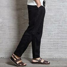 Mens Casual Pants 100% Linen Loose Straight Trousers Black Chinese Japan Style 8