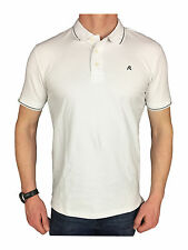Replay Mens Tipped Logo Branded Polo Shirt in White