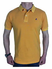 Replay Mens Garment Dyed Branded Polo Shirt in Mustard